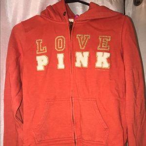 Orange zip up PINK vintage jacket